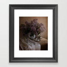 Still life with dishes and fresh lilac Framed Art Print
