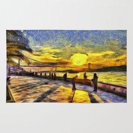 Sunset Fishing Istanbul Van Gogh Rug