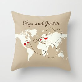 Personalized World Map Love Story Throw Pillow