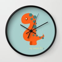 dinosaur Wall Clocks featuring Dinosaur by Jane Mathieu