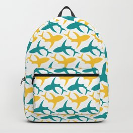 Yellow and teal shark pattern Backpack