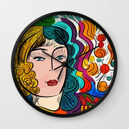 Colorful Pop Girl Illustration Portrait Fashion Digital Wall Clock