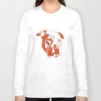 pitbull Long Sleeve T-shirts featuring COACH - ORANGE by Kirk Scott