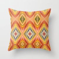 orange pattern Throw Pillows featuring pattern orange by Christine baessler