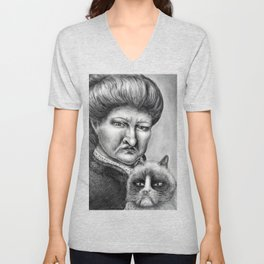 Untitled - Charcoal Drawing - pets, cat, grouchy, sad, angry, funny, silly Unisex V-Neck