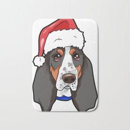Basset Hound Dog Christmas Hat Bath Mat