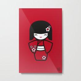 Red Kokeshi Metal Print