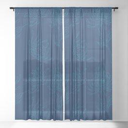 Ocean Blue Dahlia Flowers Sheer Curtain