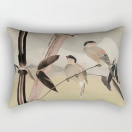 Two Birds in Bamboo Tree Rectangular Pillow