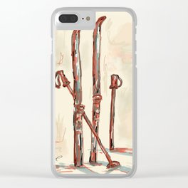 Skiing Clear iPhone Case