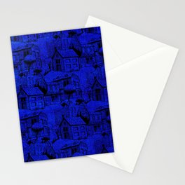 V25 Blue Architecture Design Traditional Moroccan Rug Background. Stationery Cards