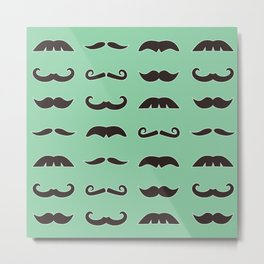 Vintage brown mustaches on seafoam green background Metal Print