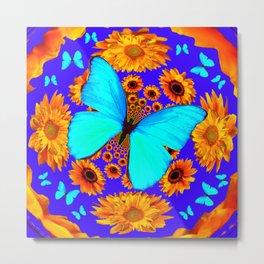 Turquoise Butterflies Golden Sunflowers Blue Abstract Metal Print