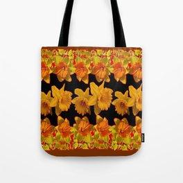 GOLDEN DAFFODILS GARDEN  COFFEE BROWN-BLACK ART Tote Bag