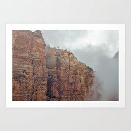 Foggy Zion National Park Art Print