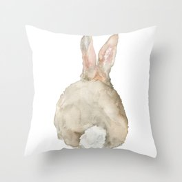 Cottontail Bunny Rabbit Watercolor - Back Throw Pillow