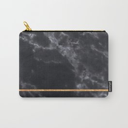 BLACK MARBLE GOLD STRIPE Carry-All Pouch