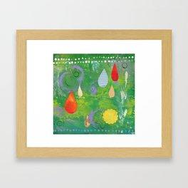 Raindrops in Green Framed Art Print