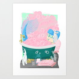 """Bathtub"" Mermaid Art Print"