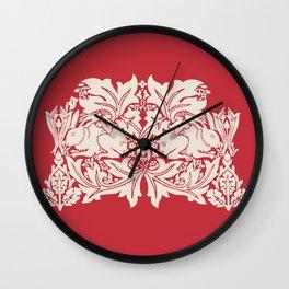 William Morris Style Victorian Christmas Bunnies Wall Clock