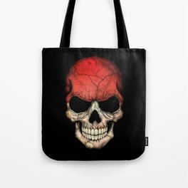 Dark Skull with Flag of Indonesia Tote Bag