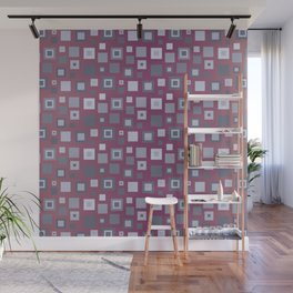 Grey Retro Square Pattern Wall Mural
