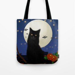Halloween cat, Halloween, cat, moon, pumpkin, Halloween pumpkin, Halloween night, bats Tote Bag