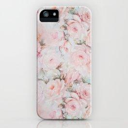 Vintage romantic blush pink teal bohemian roses floral iPhone Case