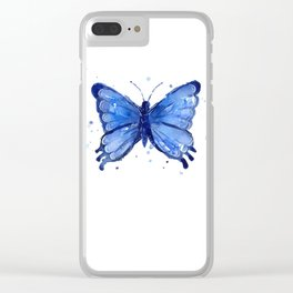 Butterfly Blue Watercolor Animal Painting Clear iPhone Case