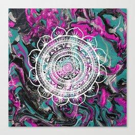 Lucid Liquid Acacia Mandala Raspberry Teal Canvas Print