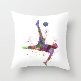 man soccer football player flying kicking silhouette Throw Pillow