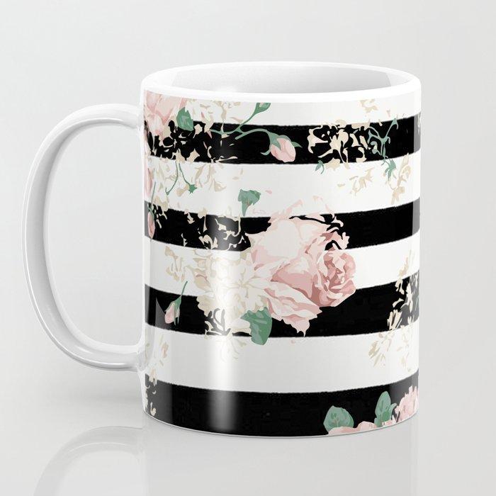 VINTAGE FLORAL ROSES BLACK AND WHITE STRIPES Coffee Mug