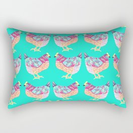 Colorful Chickens With Aqua Background Rectangular Pillow