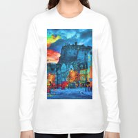 edinburgh Long Sleeve T-shirts featuring Edinburgh Evening by E.M. Shafer