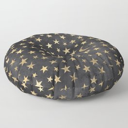 Black and Gold Moon and Stars Floor Pillow