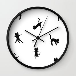 Yoga cats - black cats doing yoga Wall Clock