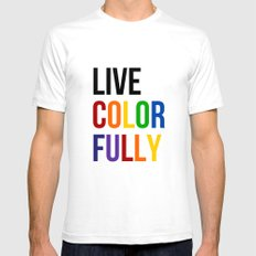 Live Colorfully with Rainbow Colors White Mens Fitted Tee SMALL
