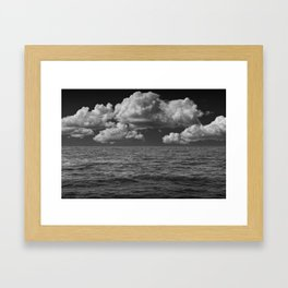 Black and White of Large Billowing Clouds over Lake Michigan Framed Art Print