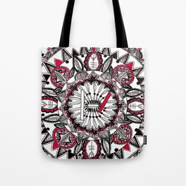 TOP Red and Black Zoomed in Mandala Tote Bag