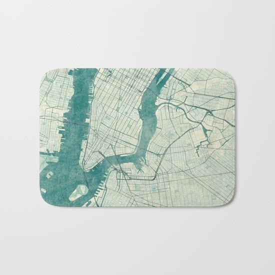 New York Map Blue Vintage Bath Mat