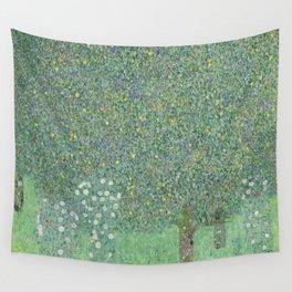 Gustav Klimt - Rosebushes Under the Trees Wall Tapestry