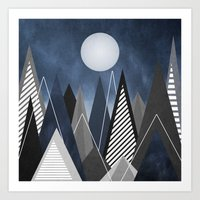 Midnight Mountains Art Print