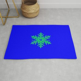 Snowflake in Blue Field, Gift Rug
