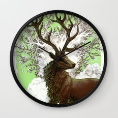 Red Stag Wall Clock