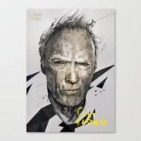 clint eastwood Canvas Prints featuring CLINT EASTWOOD by miszkurka