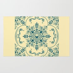 Decorative Pattern in Creme and Blue Rug