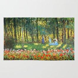 Claude Monet The Artist's Family In The Garden Rug