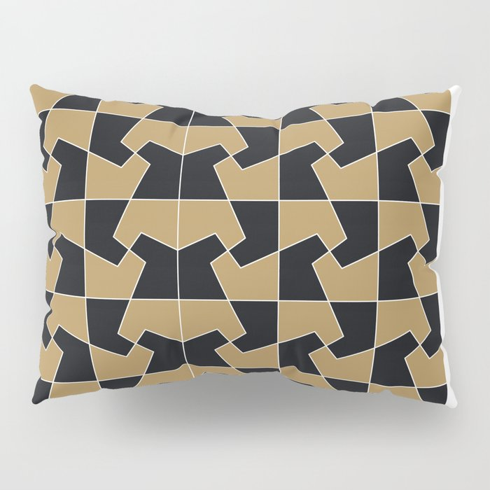 Abstract hexagon periodic tessellation pattern gamboge black Pillow Sham
