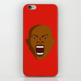 brown man screaming face art red iPhone Skin