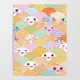 seamless pattern Kawaii with pink cheeks and winking eyes with japanese sakura flower Poster